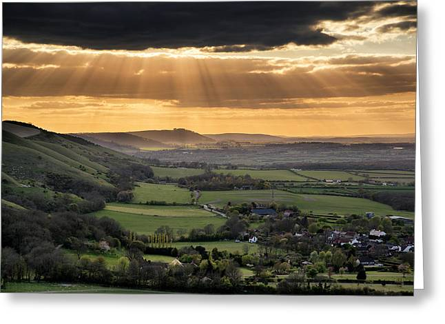 Devil Ray Greeting Cards - South Downs Escarpment Sunset Landscape Greeting Card by Matthew Gibson