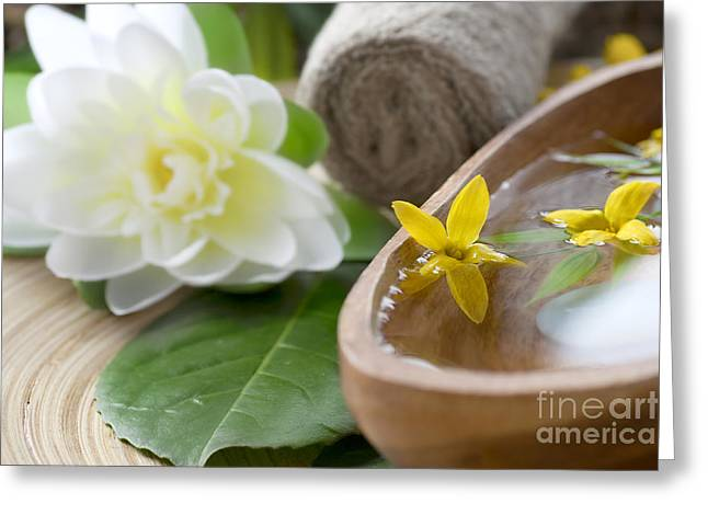 Wooden Bowl Greeting Cards - Spa setting with flower Greeting Card by Mythja  Photography
