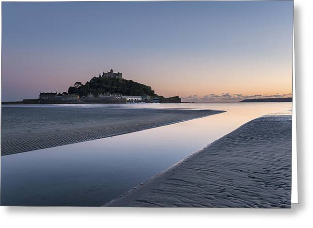 Cathedral Rock Greeting Cards - St Michaels Mount in Cornwall Greeting Card by Helen Hotson