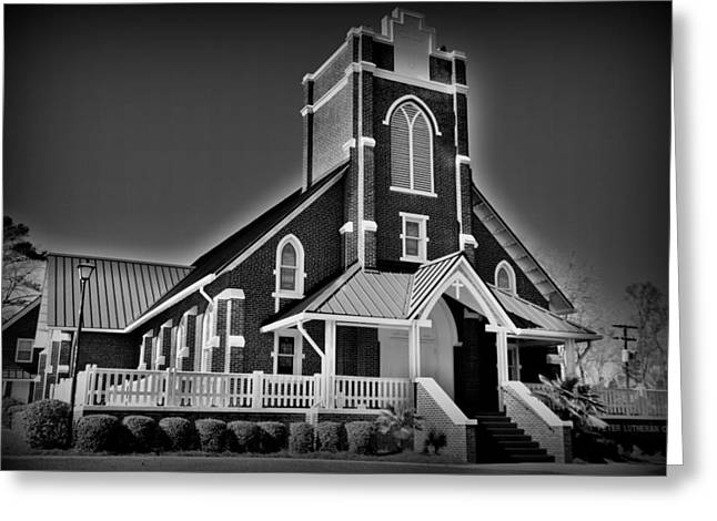 White Greeting Cards - St Peter Lutheran Church Chapin SC HDR Greeting Card by Lisa Wooten