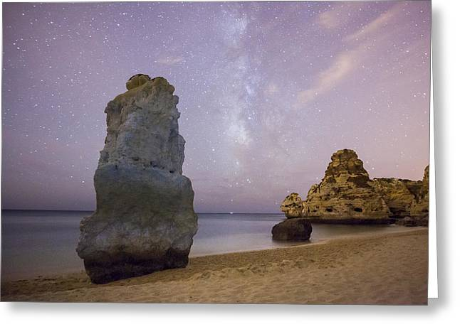 Astrophoto Greeting Cards - Starry Sky at Praia da Marinha Greeting Card by Andre Goncalves
