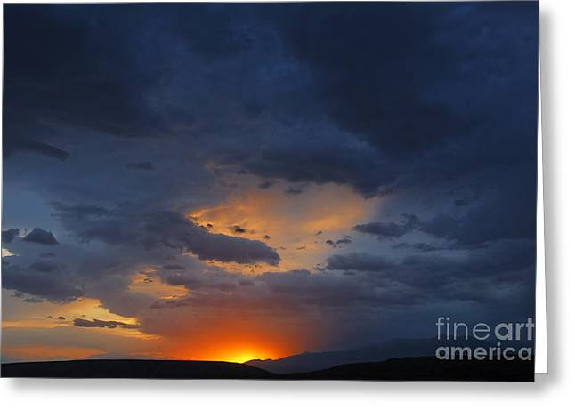 Stormclouds And Sunset Above Mountains At Toktogul In Kyrgyzstan Greeting Card by Robert Preston