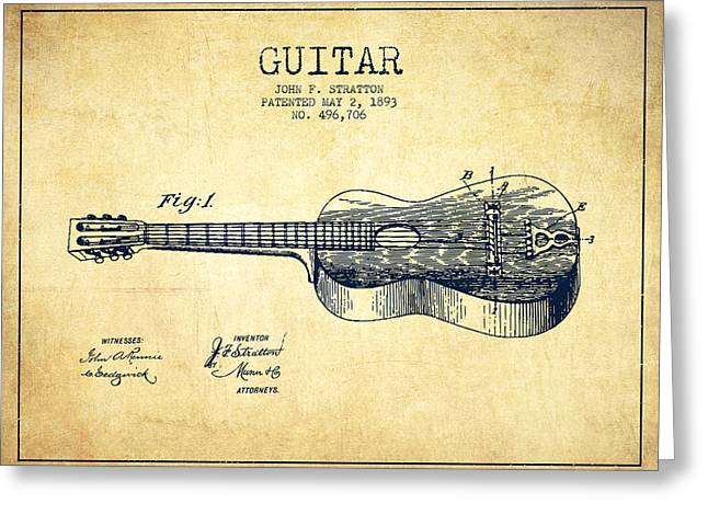Acoustic Guitar Greeting Cards - Stratton guitar patent Drawing from 1893 Greeting Card by Aged Pixel