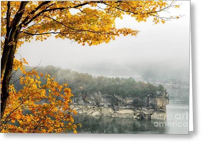 Nicholas Greeting Cards - Summersville Lake Autumn Greeting Card by Thomas R Fletcher