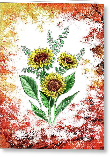 Pollen Greeting Cards - Sunflowers Greeting Card by Irina Sztukowski