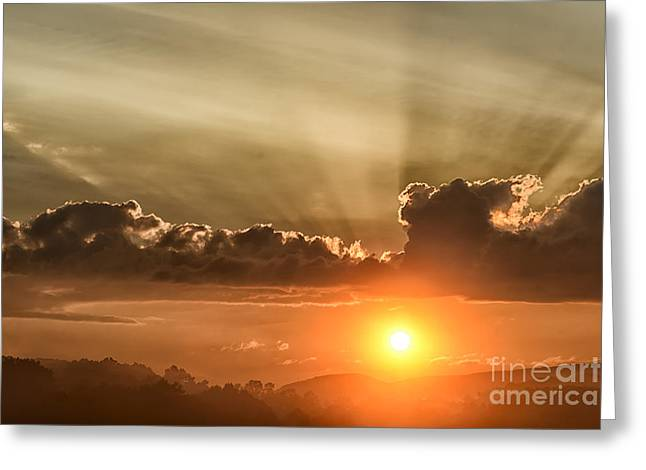 Colorful Cloud Formations Greeting Cards - Sunrise and Fog Greeting Card by Thomas R Fletcher