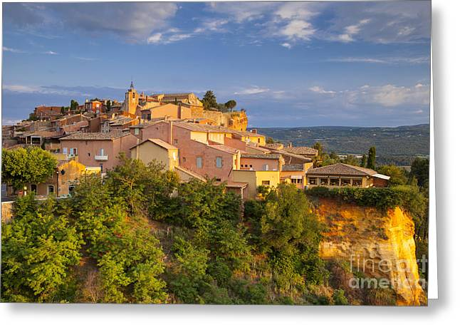 Provence Village Greeting Cards - Sunrise over Roussillon Greeting Card by Brian Jannsen