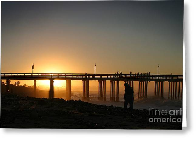 Ventura California Pyrography Greeting Cards - Sunrise Pier Ventura Greeting Card by Henrik Lehnerer