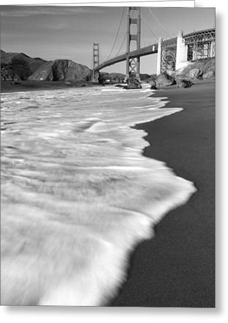 Suspension Bridge Across A Bay, Golden Greeting Card by Panoramic Images