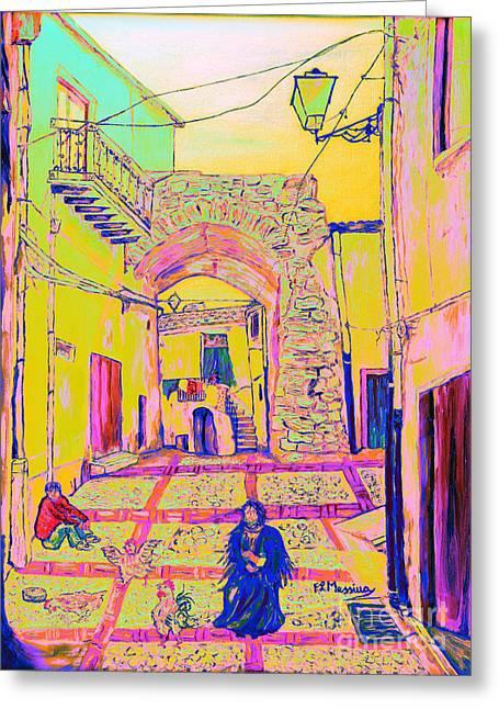 Stone Steps Mixed Media Greeting Cards - Rabato  Greeting Card by Loredana Messina