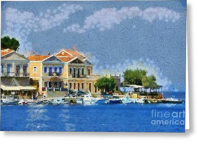 Town Greeting Cards - Symi island Greeting Card by George Atsametakis