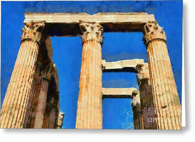 Touristic Greeting Cards - Temple of Olympian Zeus  Greeting Card by George Atsametakis