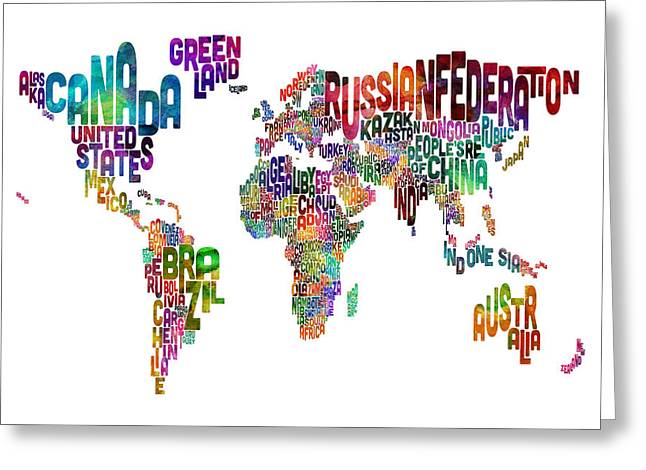 Typography Greeting Cards - Text Map of the World Greeting Card by Michael Tompsett