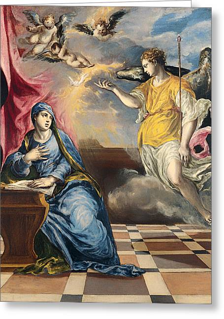 Religious Artwork Paintings Greeting Cards - The Annunciation Greeting Card by El Greco