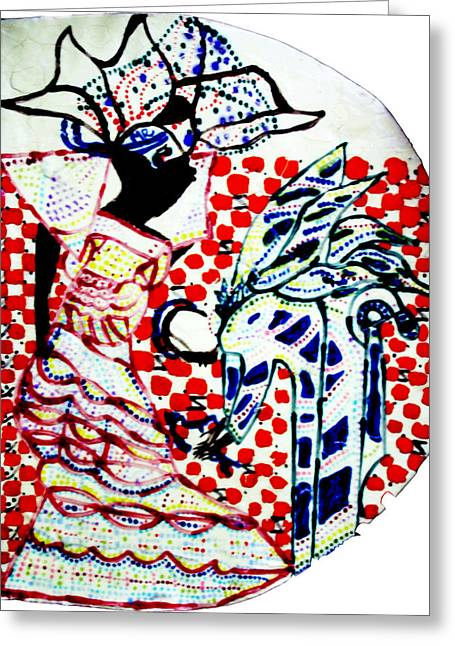 African Ceramics Greeting Cards - The Annunciation Greeting Card by Gloria Ssali
