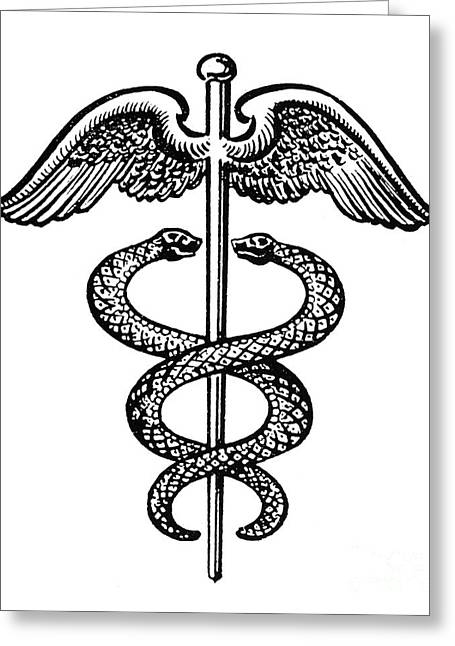 Wand Greeting Cards - The Caduceus Greeting Card by Granger