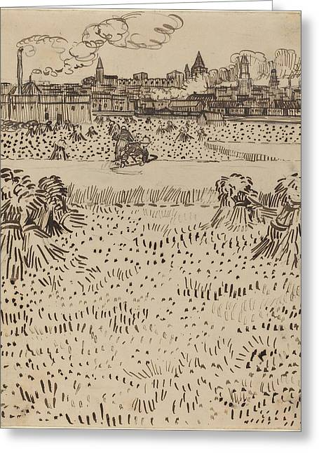Famous ist Drawings Greeting Cards - The Harvest Greeting Card by Vincent van Gogh