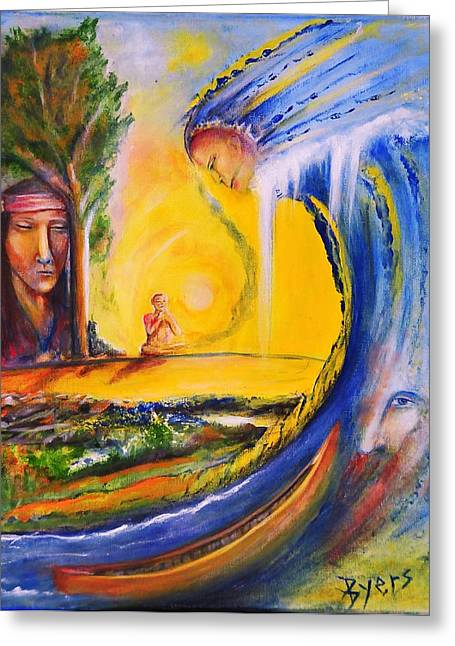 Canoe Waterfall Paintings Greeting Cards - The Island Of Man Greeting Card by Kicking Bear  Productions