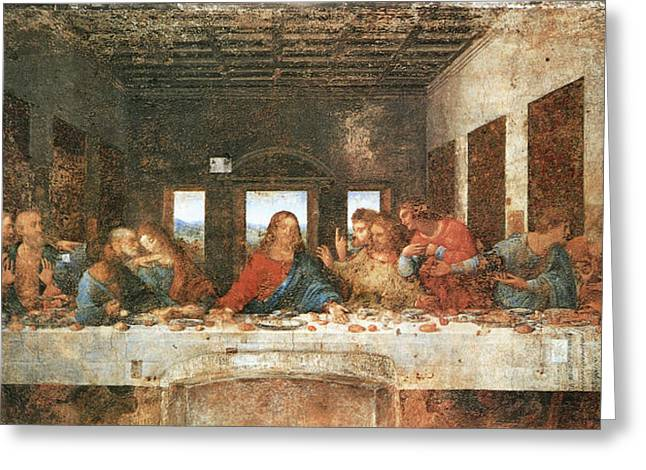 Last Supper Greeting Cards - The Last Supper Greeting Card by Leonardo Da Vinci