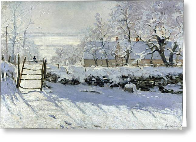 Vintage Painter Greeting Cards - The Magpie Greeting Card by Claude Monet