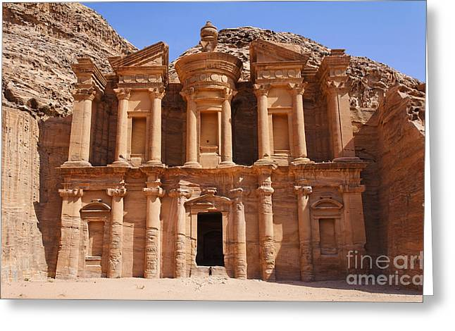 Petra - Jordan Greeting Cards - The Monastery at Petra in Jordan Greeting Card by Robert Preston