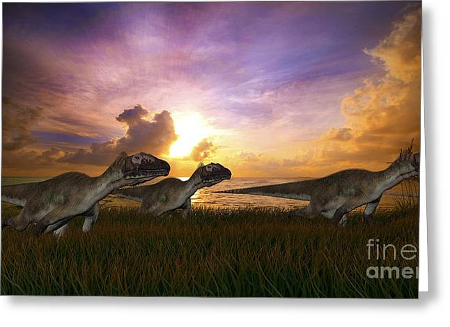 Dromaeosaurid Greeting Cards - Three Utahraptors Running Greeting Card by Kostyantyn Ivanyshen