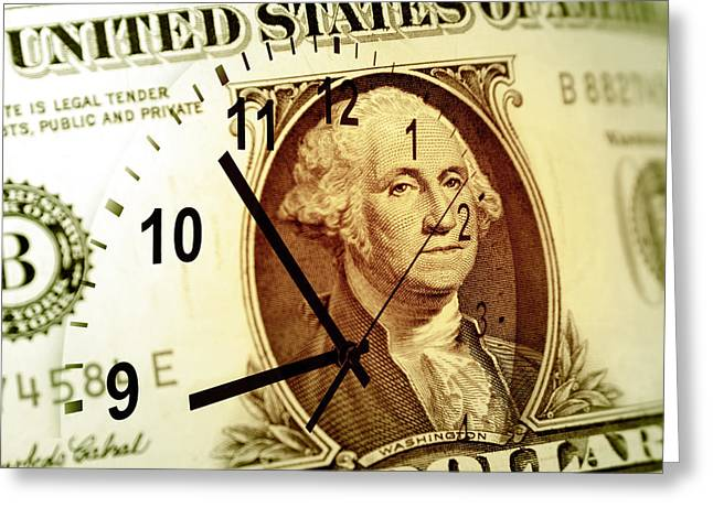 Time Is Money Greeting Cards - Time is money concept Greeting Card by Les Cunliffe