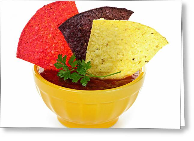 Crispy Greeting Cards - Tortilla chips and salsa Greeting Card by Elena Elisseeva