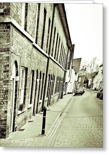 Black And White Style Greeting Cards - Town houses Greeting Card by Tom Gowanlock