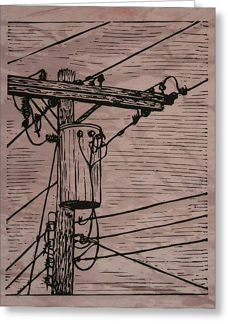 Linocut Greeting Cards - Transformer Greeting Card by William Cauthern