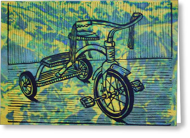 Lino Greeting Cards - Tricycle Greeting Card by William Cauthern