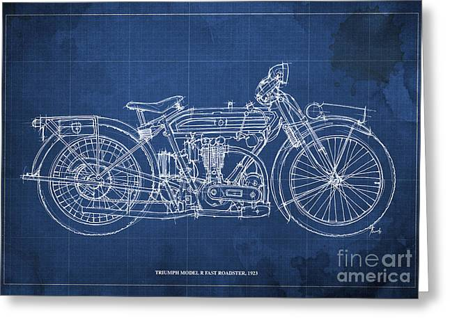 Handmade Drawings Greeting Cards - Triumph Model R fast roadster 1923 Greeting Card by Pablo Franchi