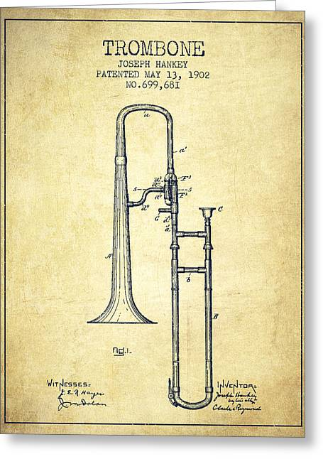 Trombone Greeting Cards - Trombone Patent from 1902 - Vintage Greeting Card by Aged Pixel