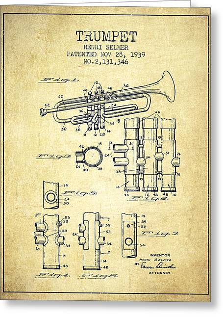 Trumpet Digital Greeting Cards - Trumpet Patent from 1939 - Vintage Greeting Card by Aged Pixel