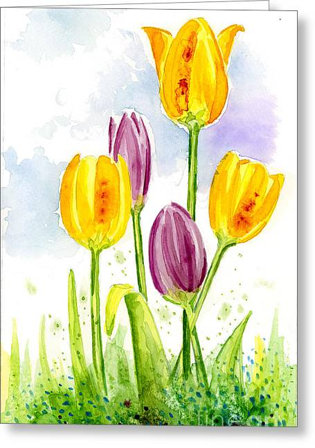 Anniesdoodlebugz Greeting Cards - 5 Tulips Greeting Card by Annie Troe