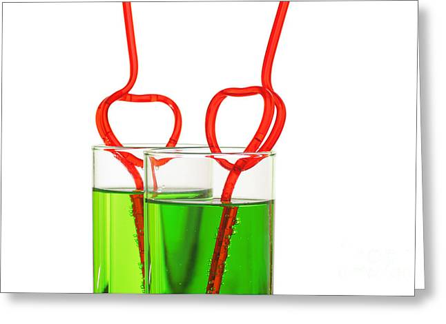 Tea Drinking Greeting Cards - Two Glasses With Heart Straws Greeting Card by Aleksey Tugolukov