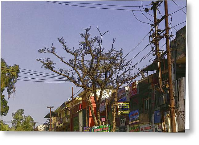 Without Action Greeting Cards - Typical scene in a street in a small town in India Greeting Card by Ashish Agarwal