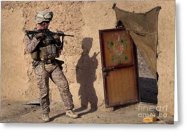 Us Open Photographs Greeting Cards - U.s. Marine Provides Security Greeting Card by Stocktrek Images