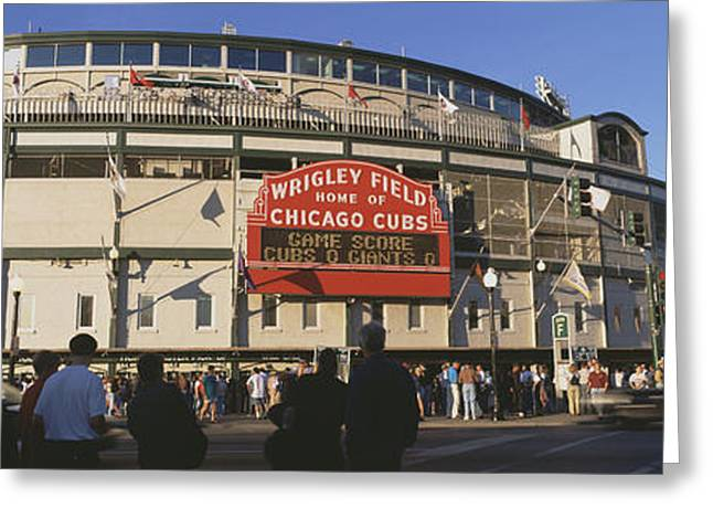 Baseball Stadiums Greeting Cards - Usa, Illinois, Chicago, Cubs, Baseball Greeting Card by Panoramic Images