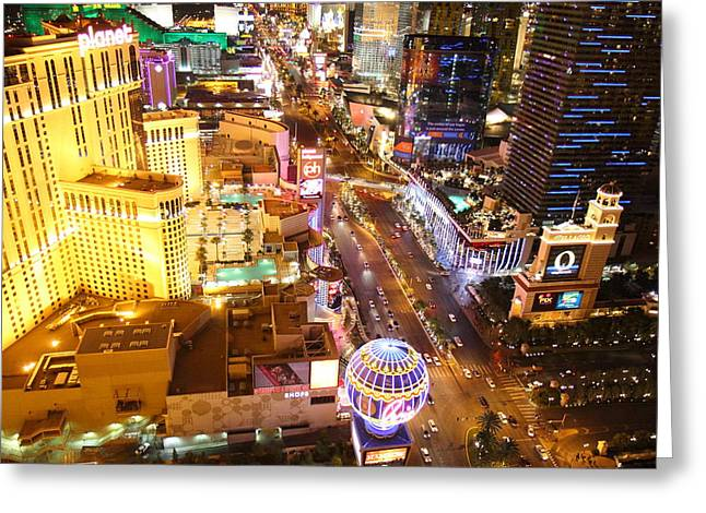 Vegas Greeting Cards - View from Eiffel Tower in Las Vegas - 01131 Greeting Card by DC Photographer