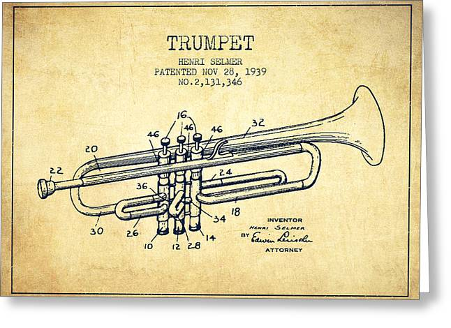 Trumpet Greeting Cards - Vinatge Trumpet Patent from 1939 Greeting Card by Aged Pixel
