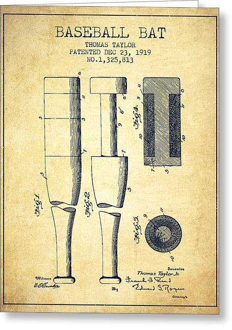 Baseball Glove Greeting Cards - Vintage Baseball Bat Patent from 1919 Greeting Card by Aged Pixel