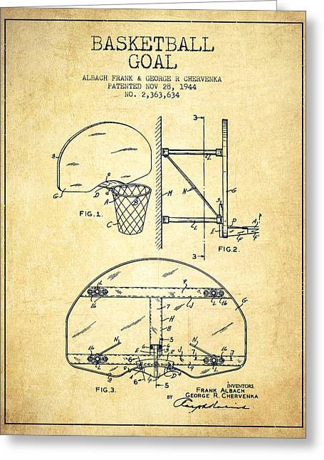 Dunks Greeting Cards - Vintage Basketball Goal patent from 1944 Greeting Card by Aged Pixel