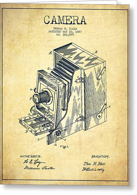 Famous Photographers Digital Greeting Cards - Vintage Camera Patent Drawing from 1887 Greeting Card by Aged Pixel