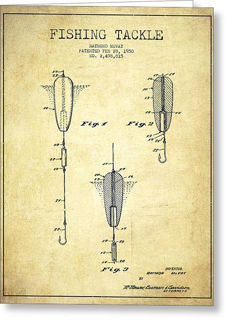 Fishing Greeting Cards - Vintage Fishing Tackle Patent Drawing from 1950 Greeting Card by Aged Pixel