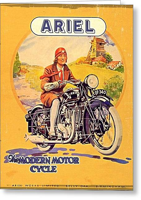 Vintage Motorcycle Advertising Greeting Card by Larry Lamb