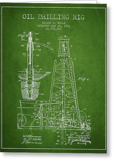 Oil Pump Greeting Cards - Vintage Oil drilling rig Patent from 1911 Greeting Card by Aged Pixel