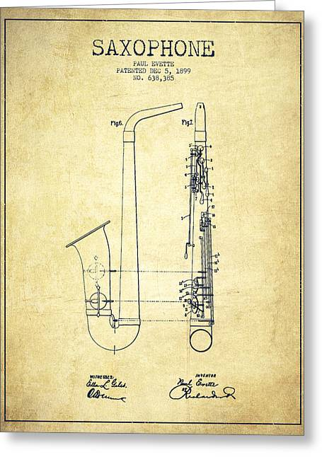 Saxophone Patent Drawing From 1899 - Vintage Greeting Card by Aged Pixel