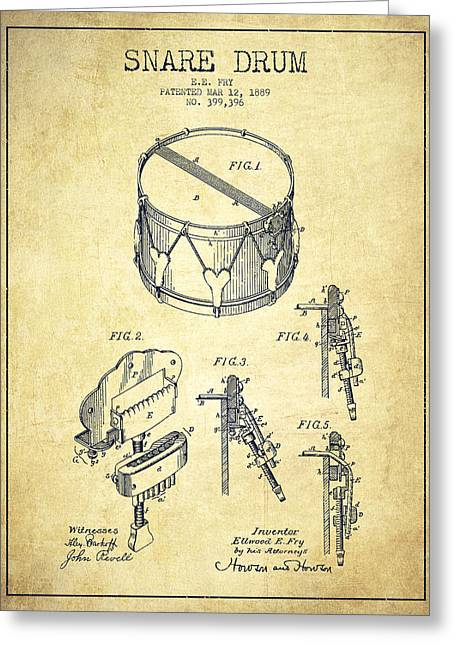 Snare Greeting Cards - Vintage Snare Drum Patent Drawing from 1889 - Vintage Greeting Card by Aged Pixel