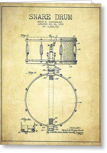 Snare Greeting Cards - Snare Drum Patent Drawing from 1939 - Vintage Greeting Card by Aged Pixel